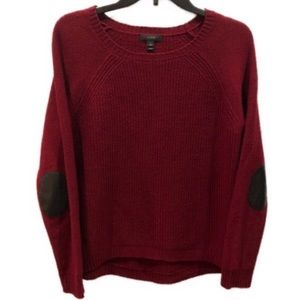 J. CREW maroon wool elbow patch sweater S